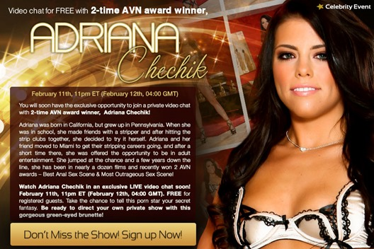 Chat live with pornstar Adriana Chechik